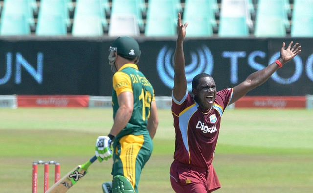 West Indies fast bowler Jerome Taylor appeals for the wicket of Faf Du Plessis. Image Credit: WICB