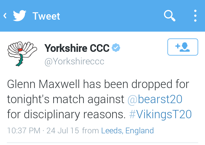 Yorkshire Vikings confirmed the same ahead of their NatWest T20 game.