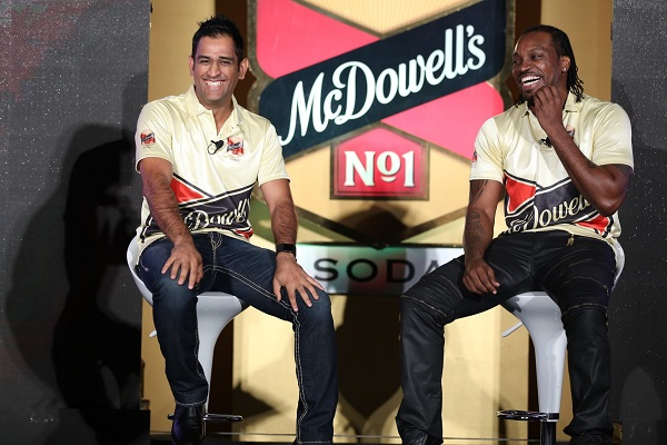 See Exclusive Images Of MS Dhoni and Chris Gayle From McDowell's Logo Launch