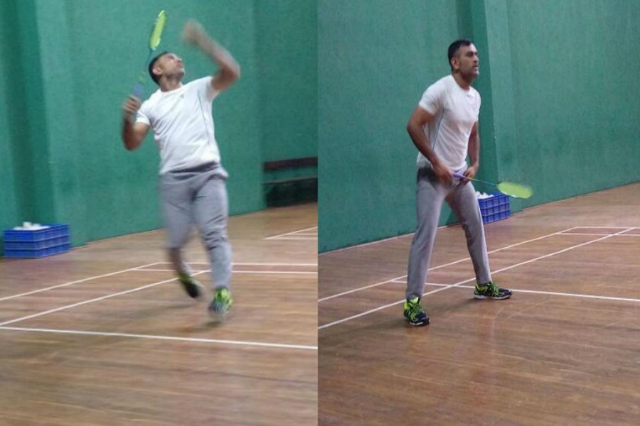 MS Dhoni playing Badminton