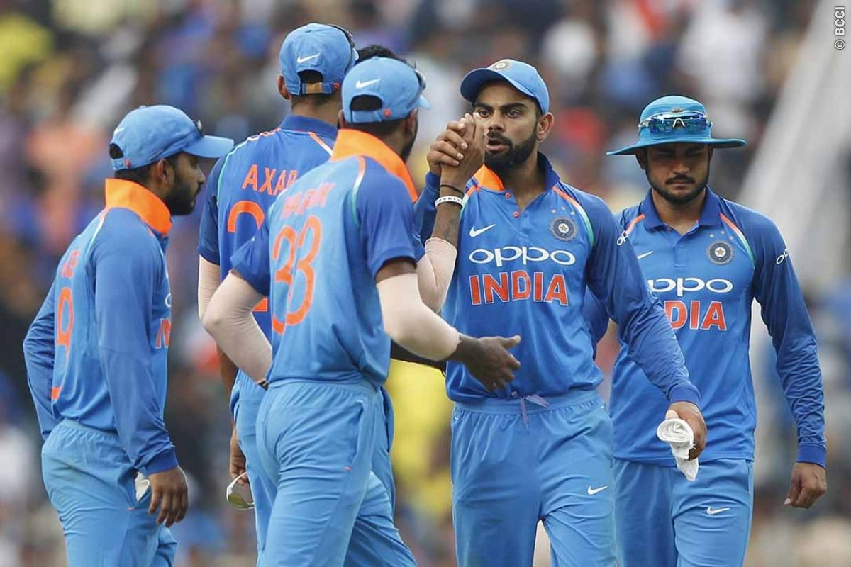 Virat Kohli captain of India with team players after the 5th ODI match between India and Australia