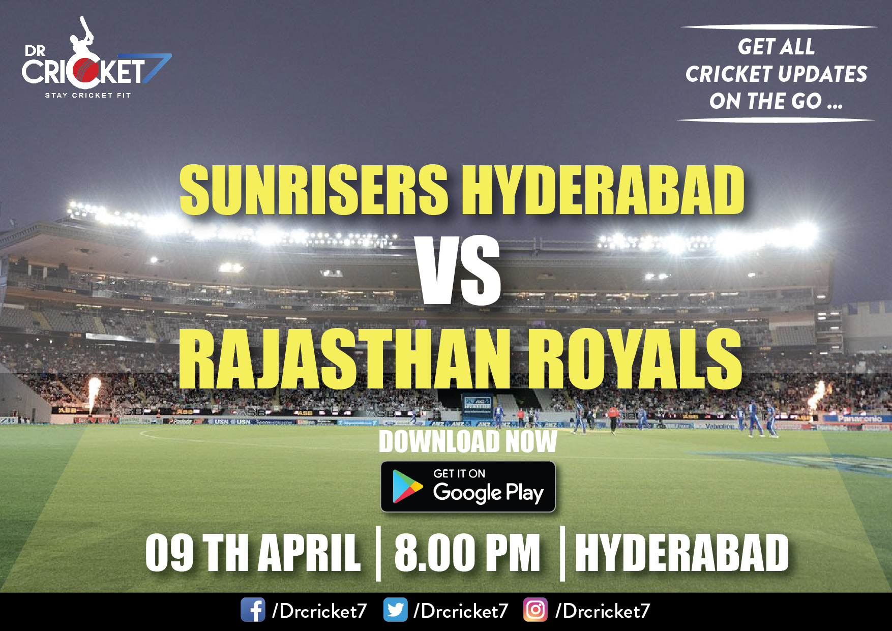 IPL2018 Live Streaming: SunRisers Hyderabad v Rajasthan Royals
